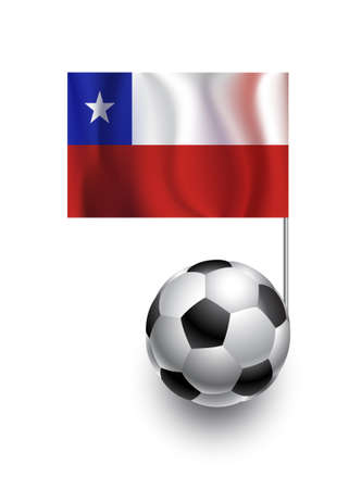 fanatic: Illustration of Soccer Balls or Footballs with  pennant flag of Chile country team Illustration