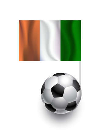 cote d'ivoire: Illustration of Soccer Balls or Footballs with  pennant flag of Cote d Ivoire country team