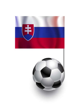 slovakia flag: Illustration of Soccer Balls or Footballs with  pennant flag of Slovakia country team