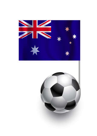 fanatic: Illustration of Soccer Balls or Footballs with  pennant flag of Australia country team Illustration