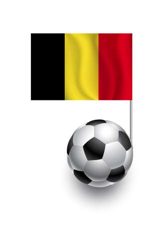 Illustration of Soccer Balls or Footballs with  pennant flag of Belgium country team Vector