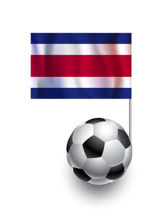 costa rica flag: Illustration of Soccer Balls or Footballs with  pennant flag of Costa Rica country team