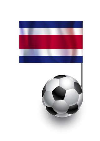 bandera de costa rica: Ilustración de balones de fútbol o de fútbol americano de la bandera del banderín de equipo en el país Costa Rica