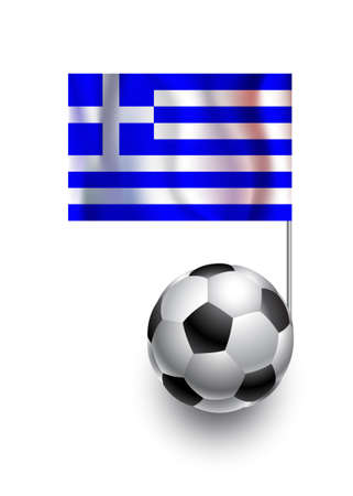 fanatic: Illustration of Soccer Balls or Footballs with  pennant flag of Greece country team