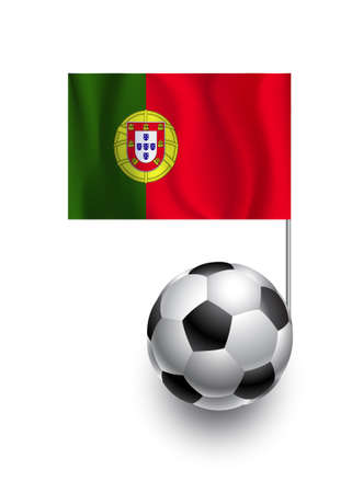 fanatic: Illustration of Soccer Balls or Footballs with  pennant flag of Portugal country team Illustration