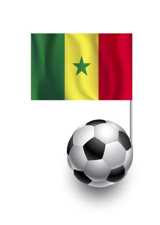 fanatic: Illustration of Soccer Balls or Footballs with  pennant flag of Senegal country team