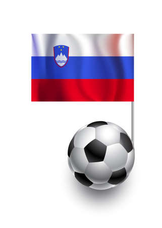 fanatic: Illustration of Soccer Balls or Footballs with  pennant flag of Slovenia country team
