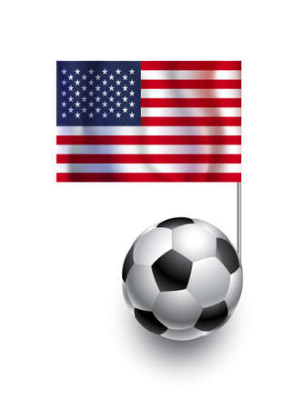 fanatic: Illustration of Soccer Balls or Footballs with  pennant flag of USA country team Illustration