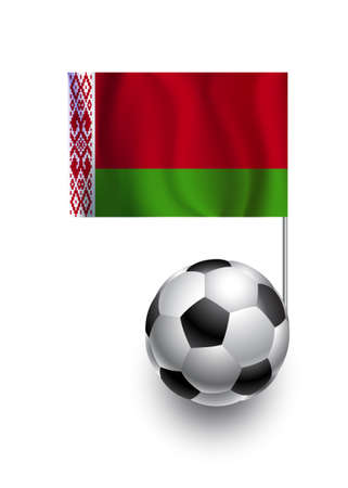 fanatic: Illustration of Soccer Balls or Footballs with  pennant flag of Belarus  country team