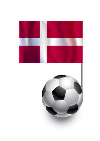 fanatic: Illustration of Soccer Balls or Footballs with  pennant flag of Denmark  country team