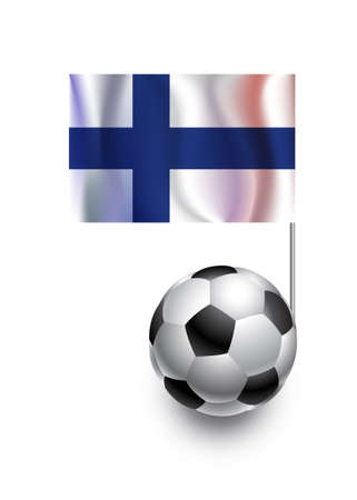 fanatic: Illustration of Soccer Balls or Footballs with  pennant flag of Finland  country team