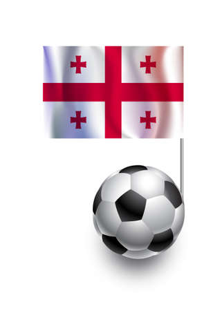 georgia flag: Illustration of Soccer Balls or Footballs with  pennant flag of Georgia  country team