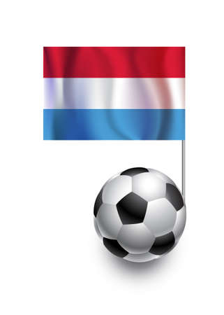 fanatic: Illustration of Soccer Balls or Footballs with  pennant flag of Luxembourg  country team Illustration