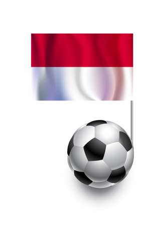 fanatic: Illustration of Soccer Balls or Footballs with  pennant flag of Monaco  country team Illustration