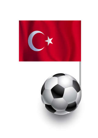 Illustration of Soccer Balls or Footballs with  pennant flag of Turkey country team Vector