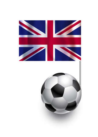 fanatic: Illustration of Soccer Balls or Footballs with  pennant flag of United Kingdom  country team Illustration