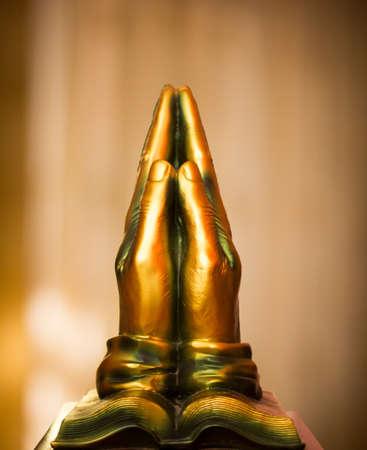 meditation pray religion: Bronze Praying Hands