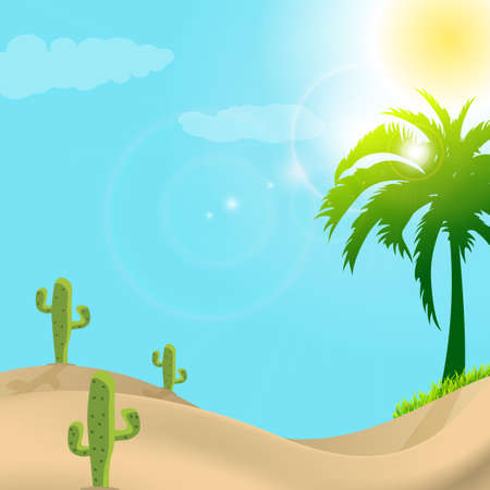 dry land: illustration of desert scene in day light Illustration