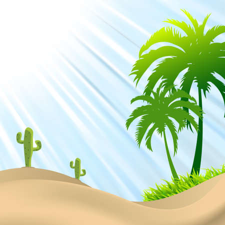 heatwave: illustration of desert scene with palm tree,cactus, sand dunes