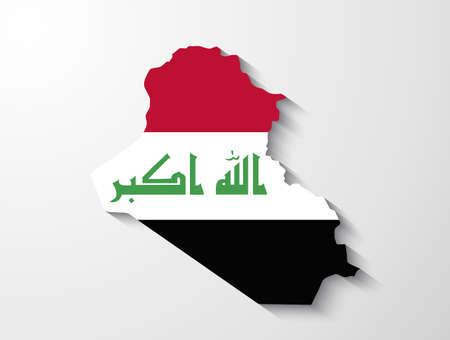 iraq war: Iraq map with shadow effect presentation