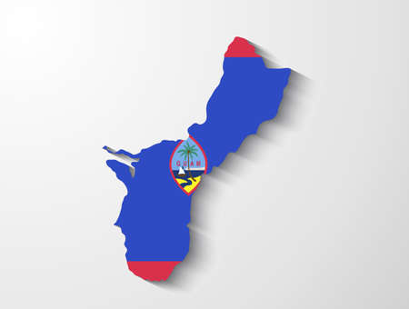 guam: Guam country map with shadow effect presentation Illustration