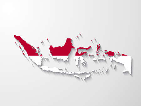 Indonesia  country map with shadow effect presentation