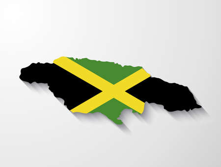 jamaica: Jamaica  country map with shadow effect presentation Illustration