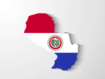 paraguay: Paraguay map with shadow effect presentation Illustration