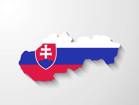 slovakia flag: Slovakia map with shadow effect presentation Illustration