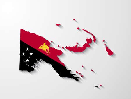 Carte Papouasie-Nouvelle-Guinée à la présentation de l'effet d'ombre Vecteurs