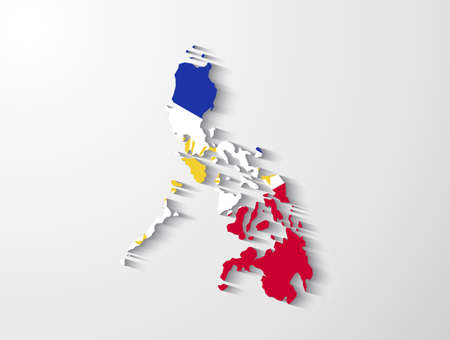 philippines  map: Philippines map with shadow effect presentation Illustration