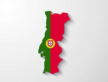 Portugal map with shadow effect presentation Vector