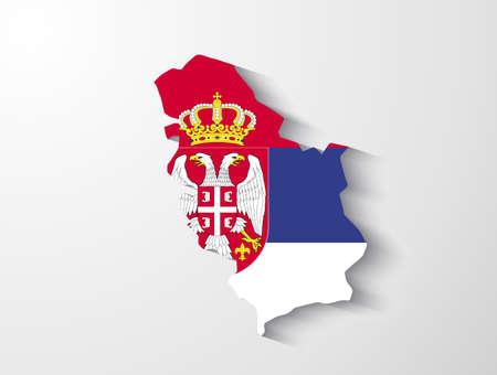serbia flag: Serbia map with shadow effect presentation