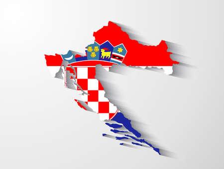 croatia flag: Croatia map with shadow effect