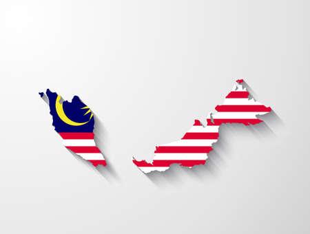 mapa politico: Malasia mapa con efecto de sombra