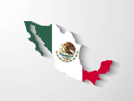 mexiko karte: Mexiko-Karte mit Schatten-Effekt Illustration