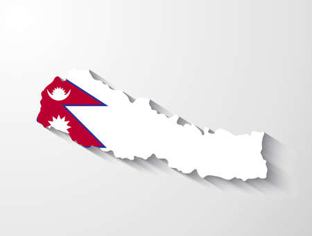 Nepal map with shadow effect Vector
