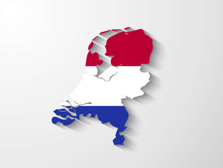 Netherlands map with shadow effect Vector