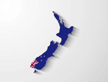 Nieuw-Zeeland kaart met schaduw effect Stock Illustratie
