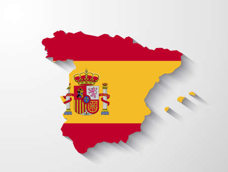 spain map: Spagna mappa con effetto ombra Vettoriali