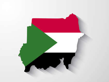 sudan: Sudan map with shadow effect