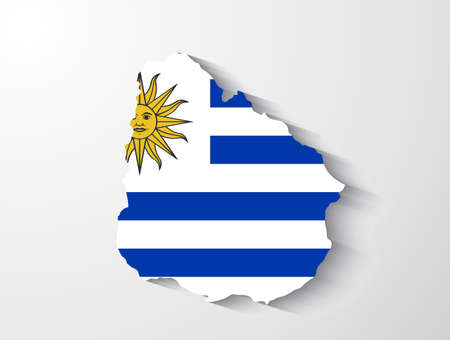 uruguay: Uruguay map with shadow effect