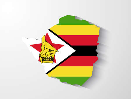 southern africa: Zimbabwe map with shadow effect Illustration