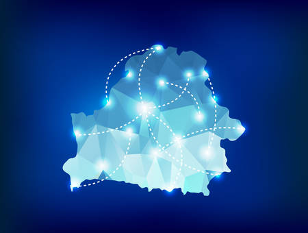 belarus: Belarus country map polygonal with spot lights places
