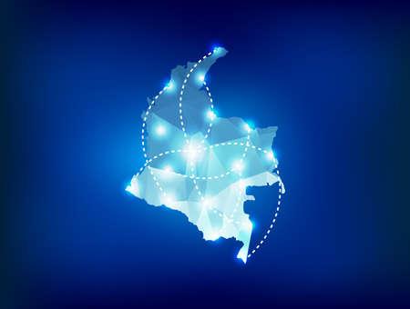 Colombia land kaart veelhoekige met spots plaatsen