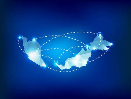 Maleisië land kaart veelhoekige met spots plaatsen Stock Illustratie