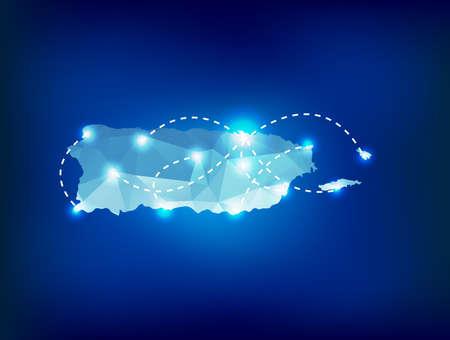 Puerto Rico landkaart veelhoekige met spots plaatsen Stock Illustratie