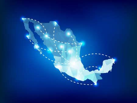 Mexico landkaart veelhoekige met spots plaatsen Stock Illustratie