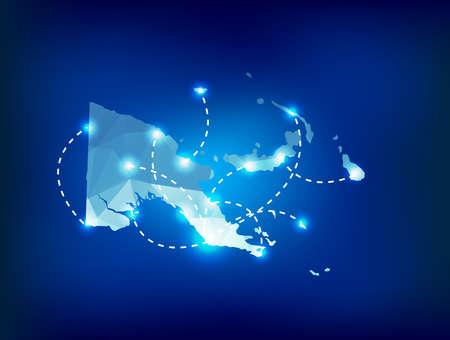 papouasie: Papouasie-Nouvelle-Guin�e pays carte polygonale avec des spots lieux Illustration