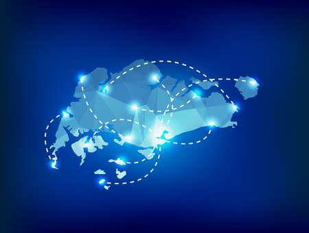 Singapore land kaart veelhoekige met spots plaatsen